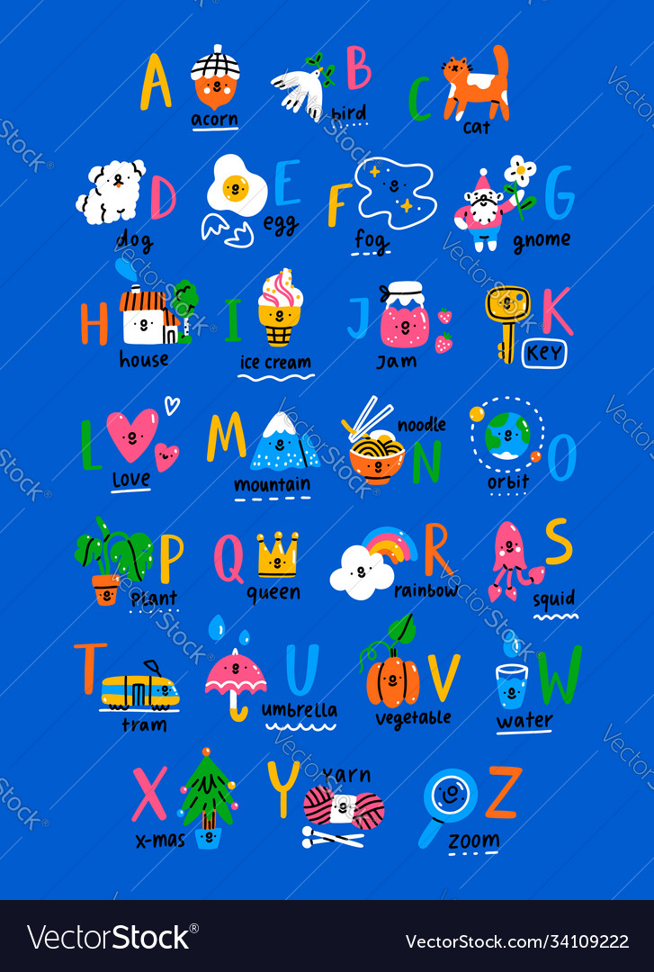 Abc poster for kids hand drawn