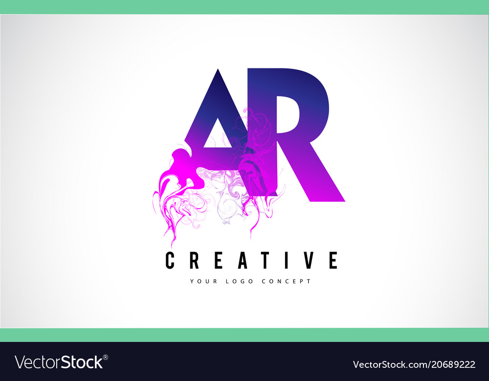 Ar a r purple letter logo design with liquid