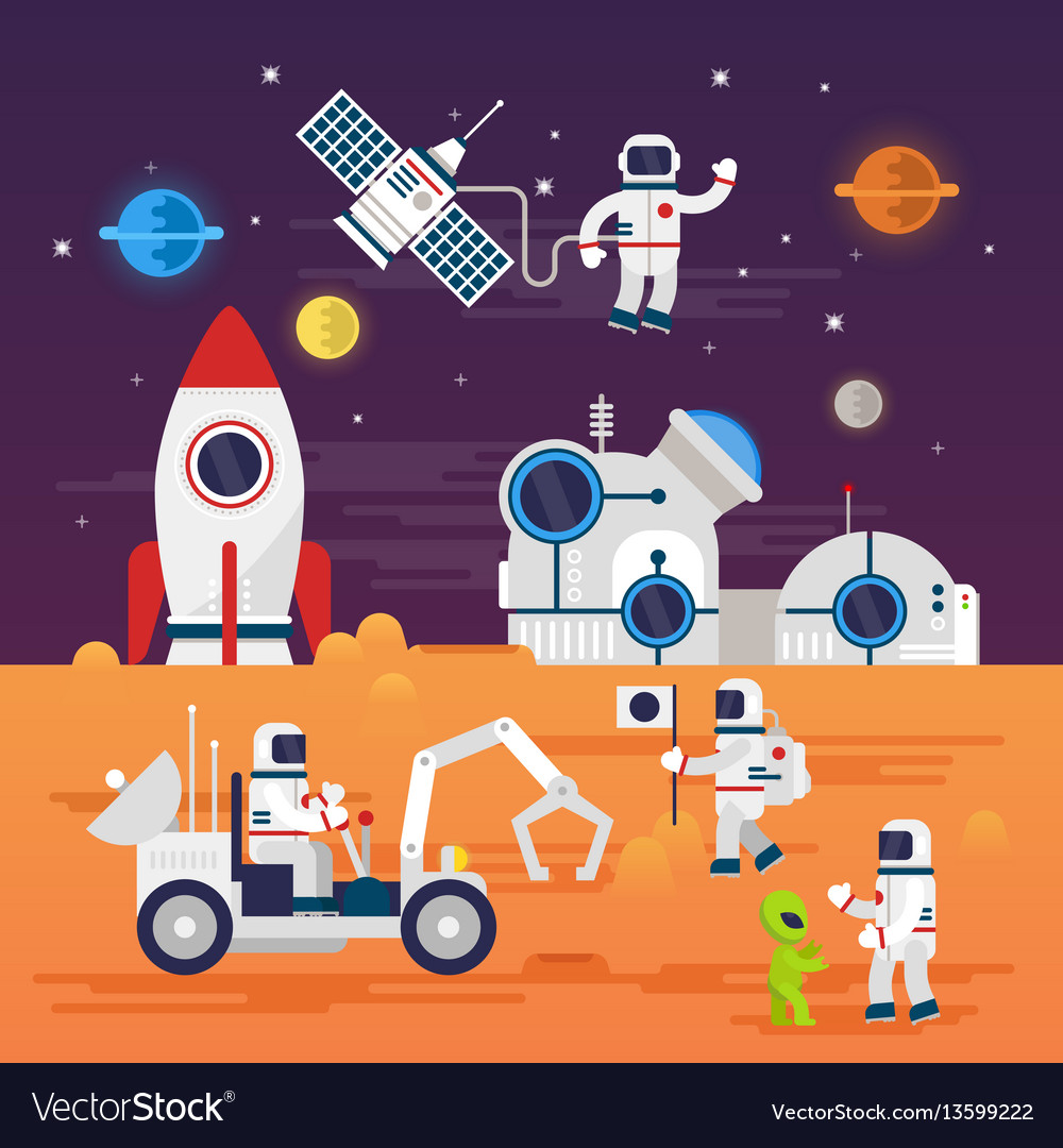 Astronauts characters set in flat cartoon style