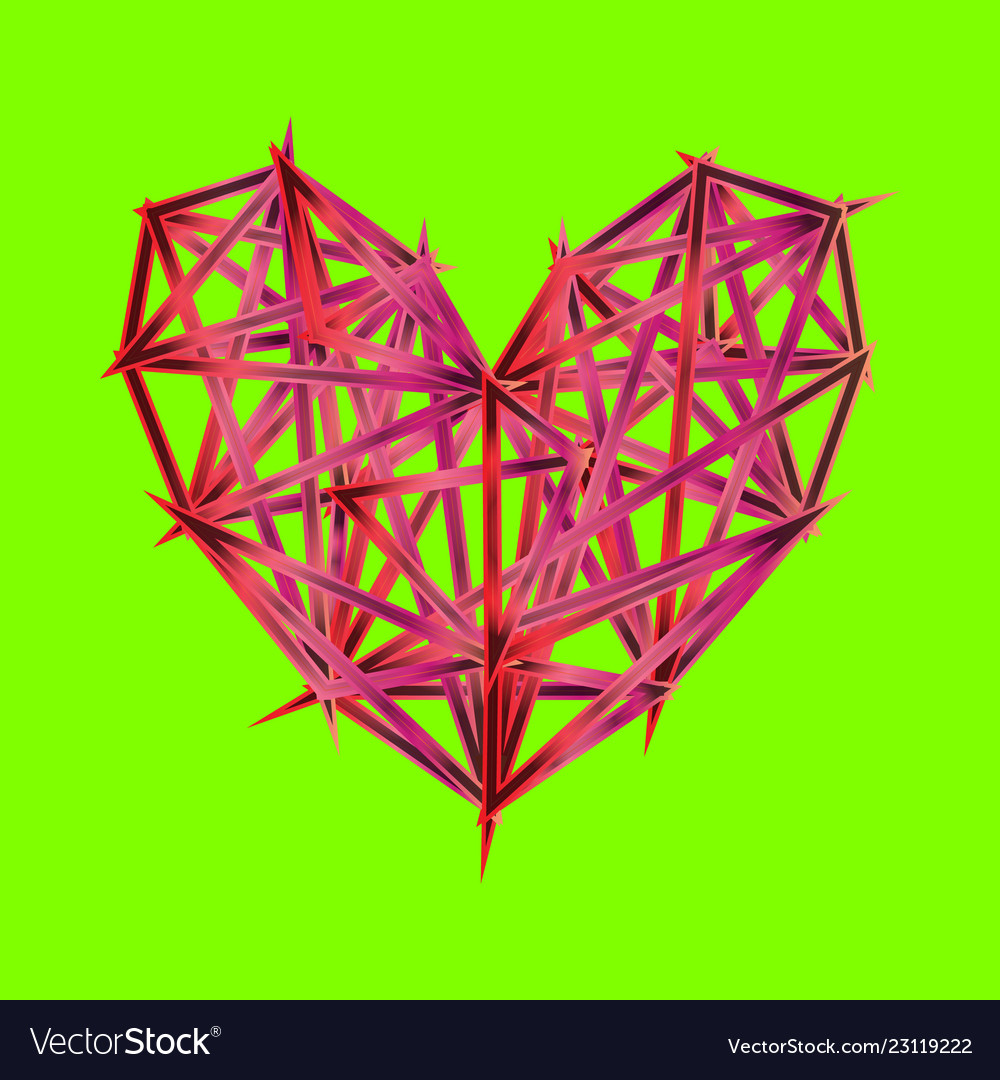 Colorful polygon heart icon on ufo green