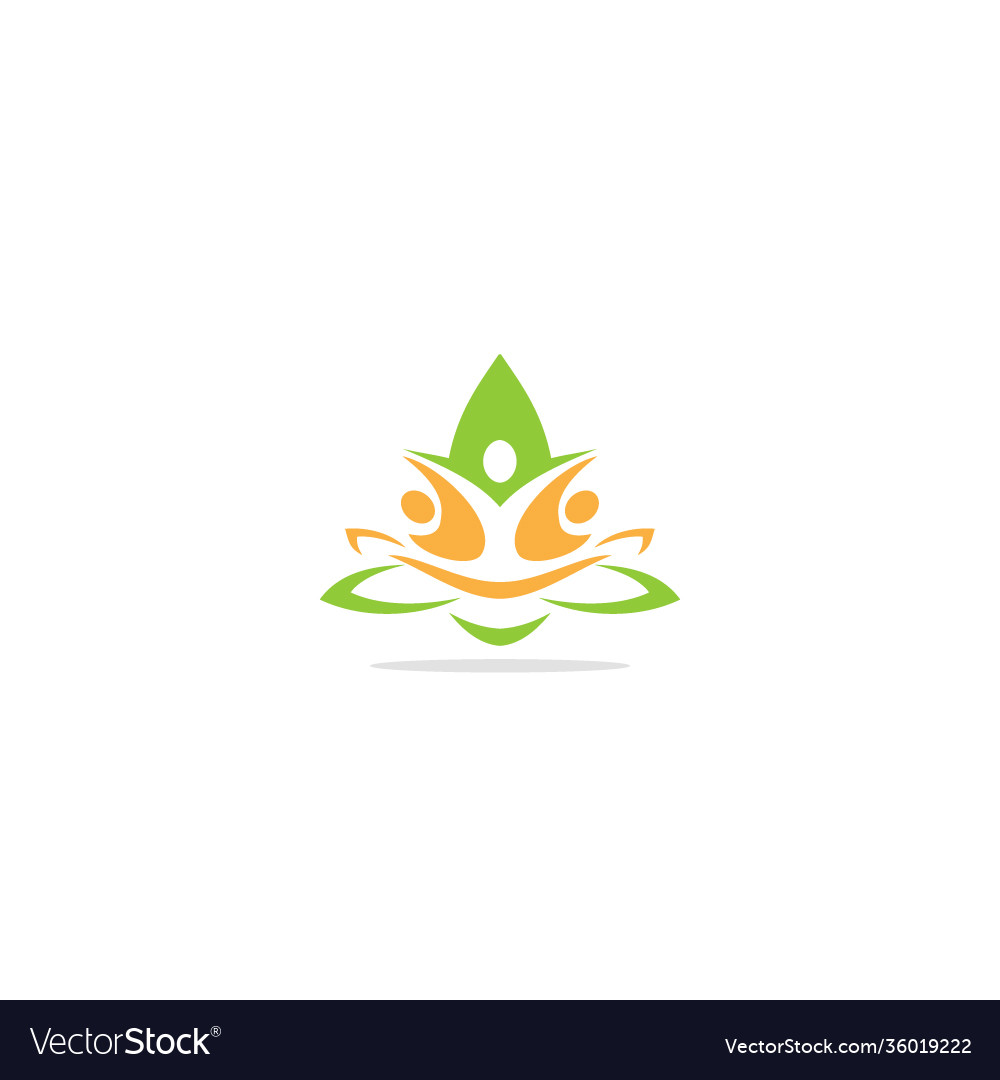 Green leaf eco people logo