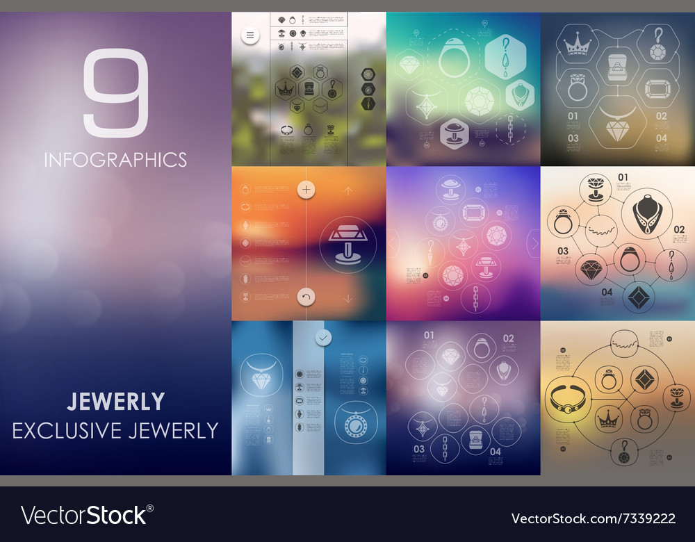 Jewelry infographic with unfocused background vector image