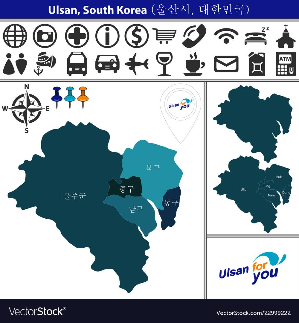 Ulsan Korea Map.Map Of Ulsan With Districts South Korea Royalty Free Vector
