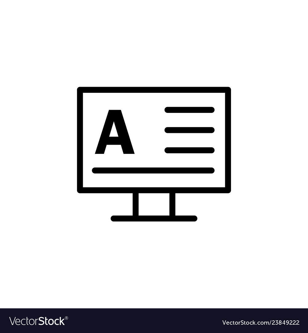 Monitor word a icon can be used for web logo