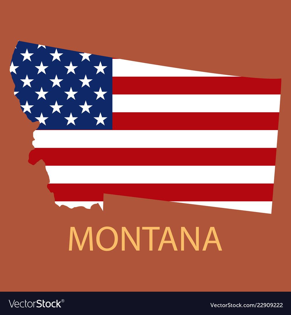Montana state of america with map flag print on Vector Image