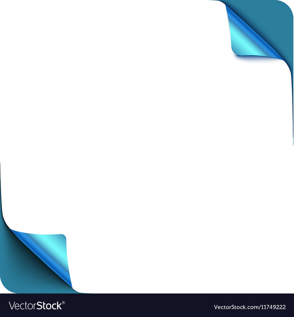 Page blue curl corners with shadow on blank white