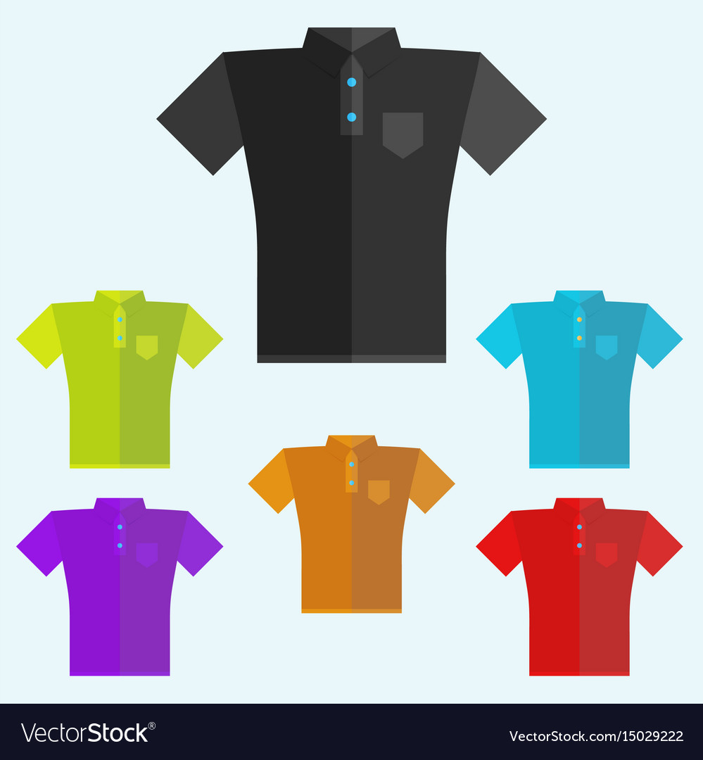 Polo shirts colored templates for your design in vector image