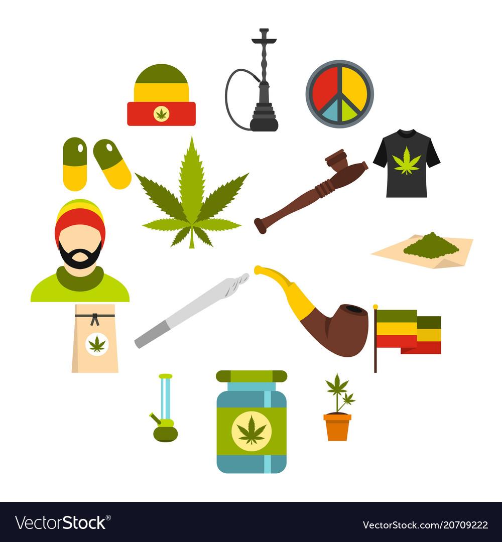 Rastafarian icons set flat style