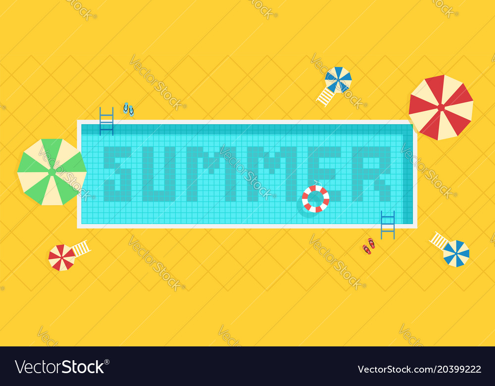 Summer time background pool with blue water and