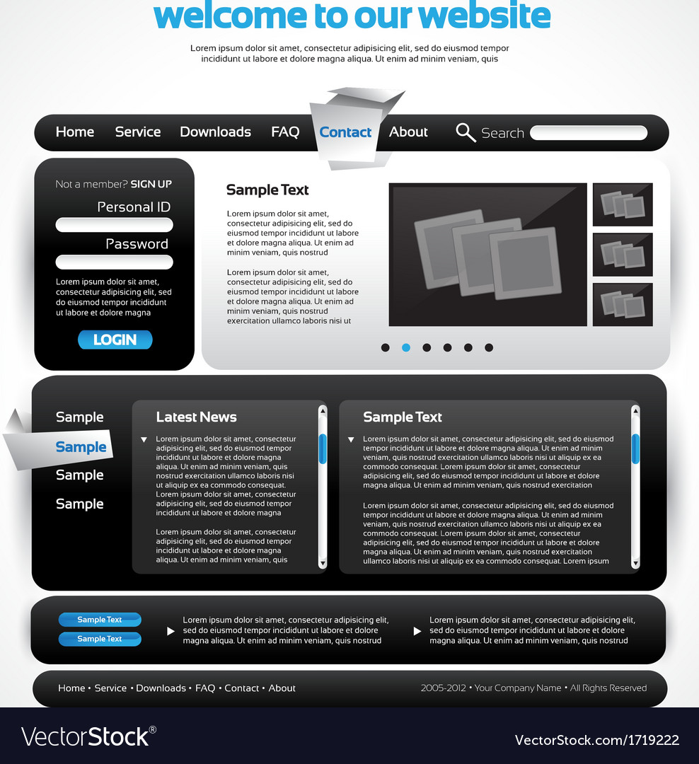 Website Design Template Royalty Free Vector Image
