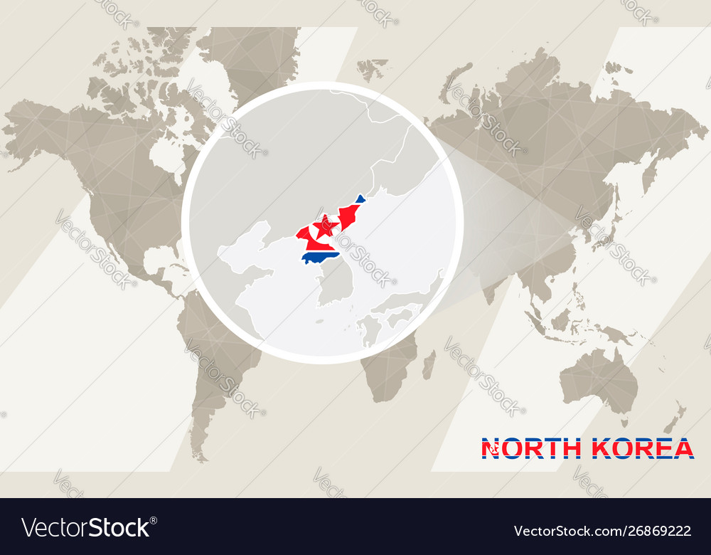 Zoom on north korea map and flag world map