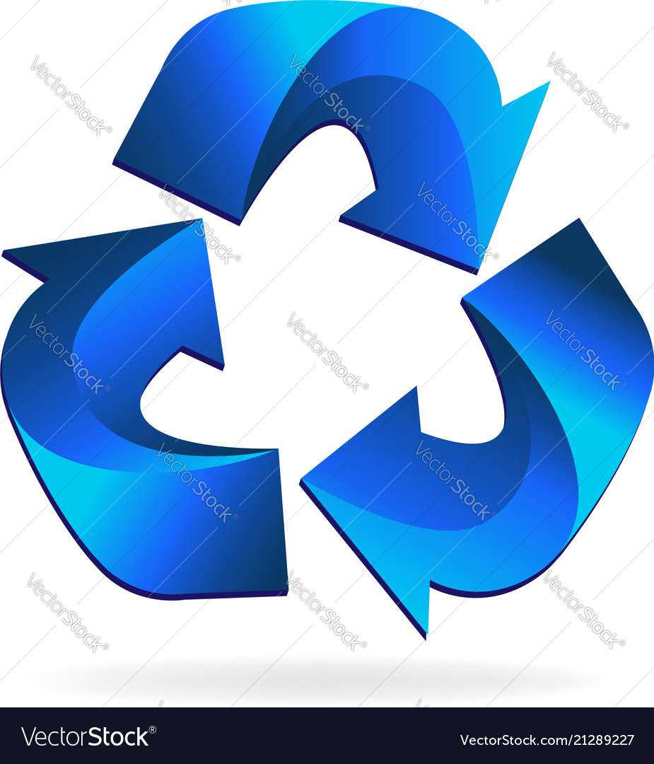 Blue recycle arrow business