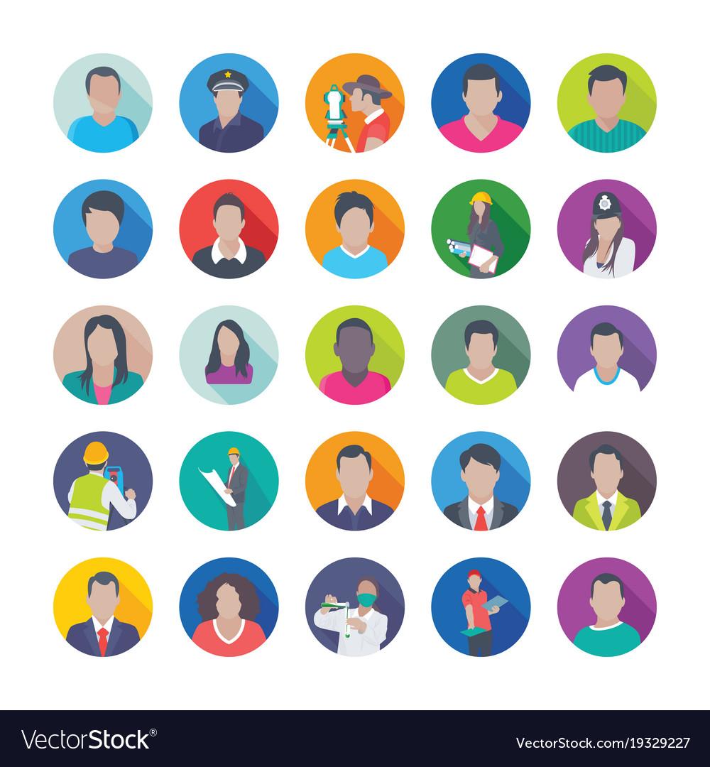 Creative flat icons set of professions