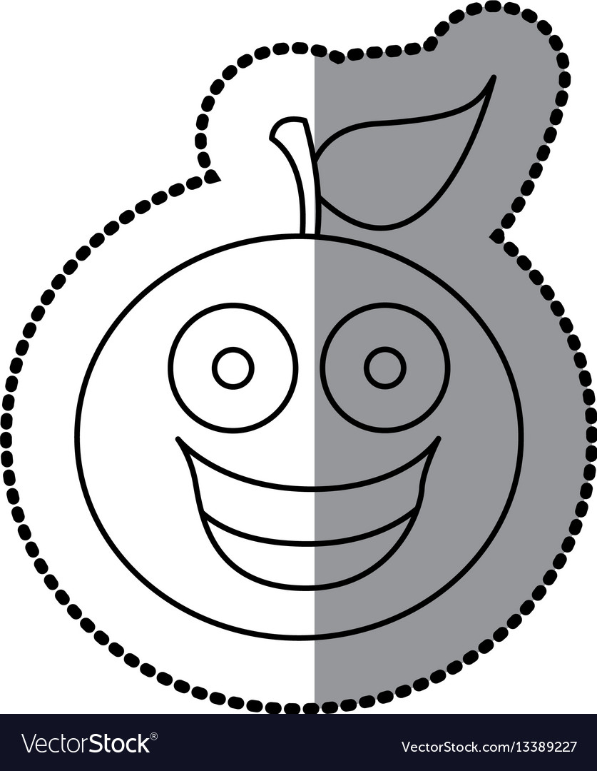 Figure kawaii fruit orange happy icon