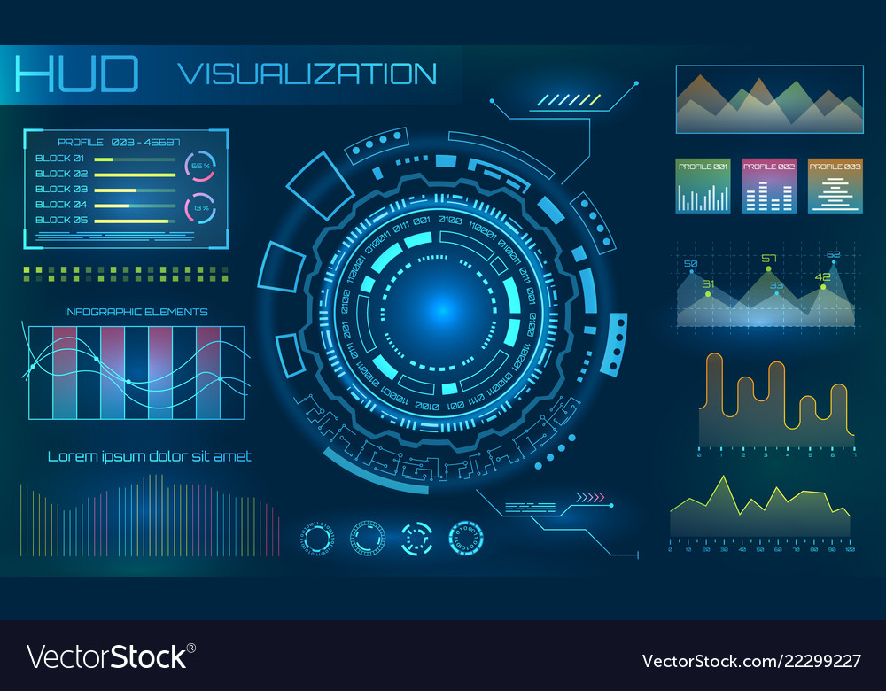 Futuristic hud design elements infographic or