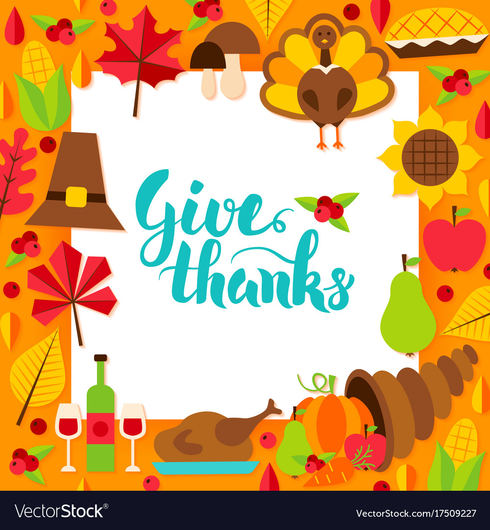 Give Thanks Paper Template Royalty Free Vector Image
