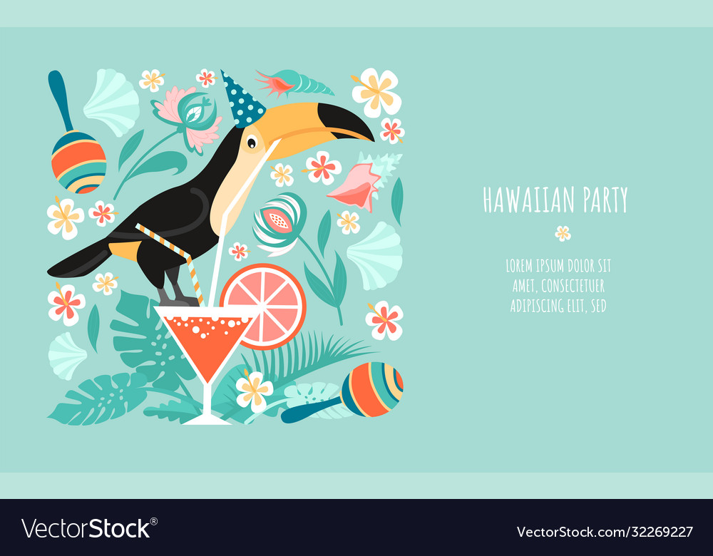Hawaiian party banner template with toucan