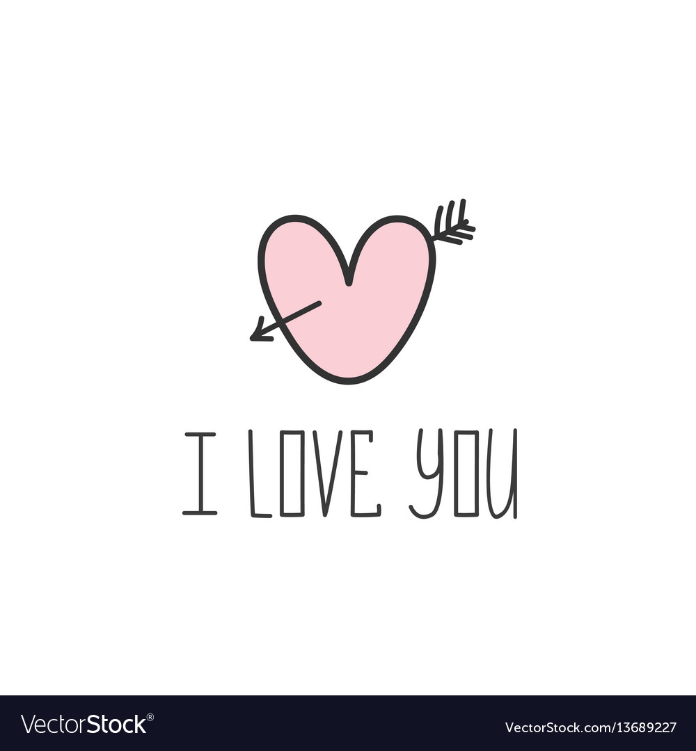 I love you valentine day card handmade lettering vector image