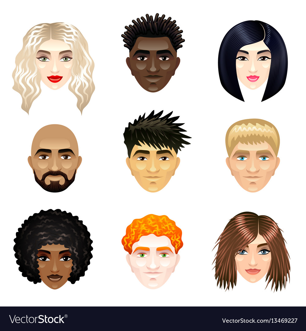 Multicultural people faces set