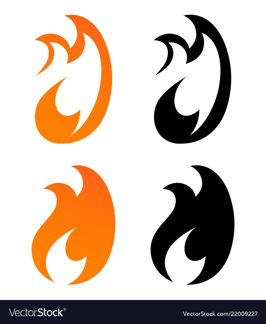 Set of icons - flames of fire in orange and black