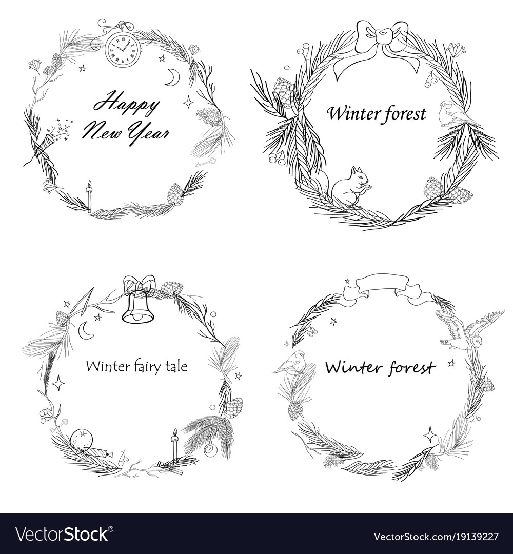 Set of new year frames with Royalty Free Vector Image