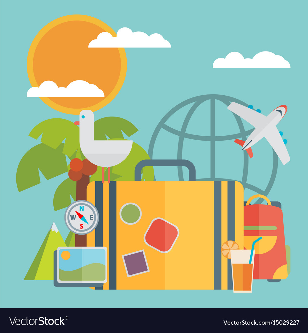 Travel vacation flat design set concept travel