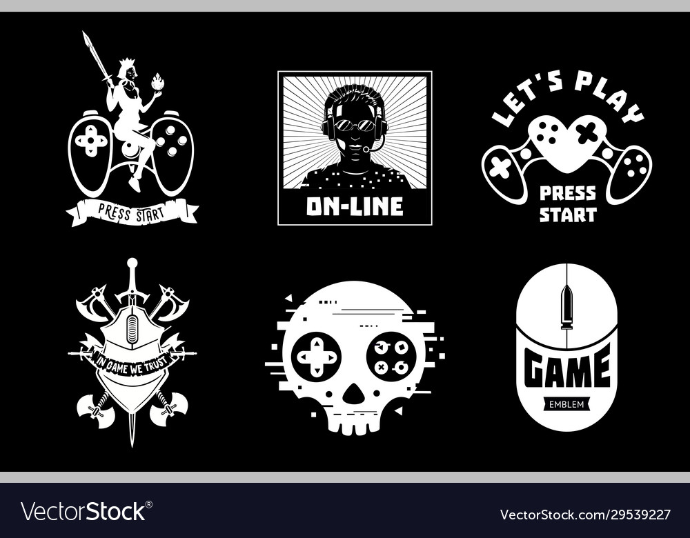 Video game emblem set gamer retro style