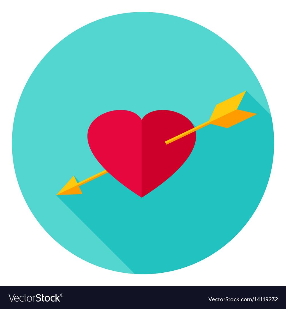 Arrow pierced heart circle icon vector image