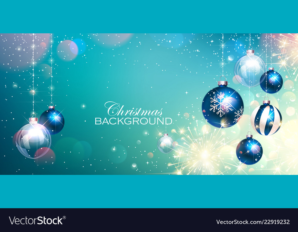 Blue christmas balls on colorful winter background
