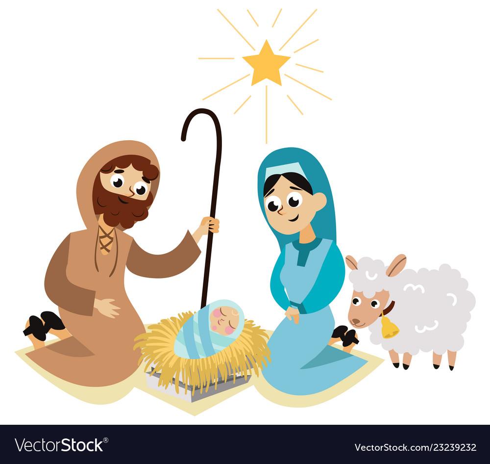Christmas nativity scene in holy family flat