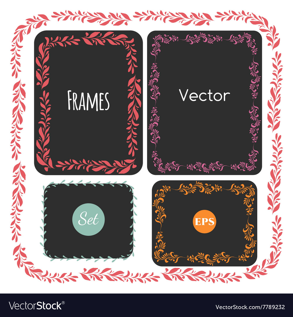 Color hand drawn frames set elements