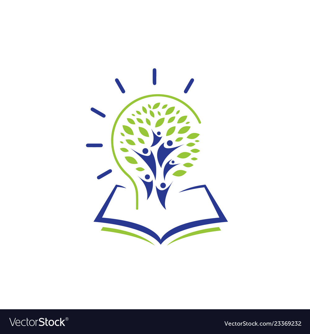 Education logo with open book and abstract student