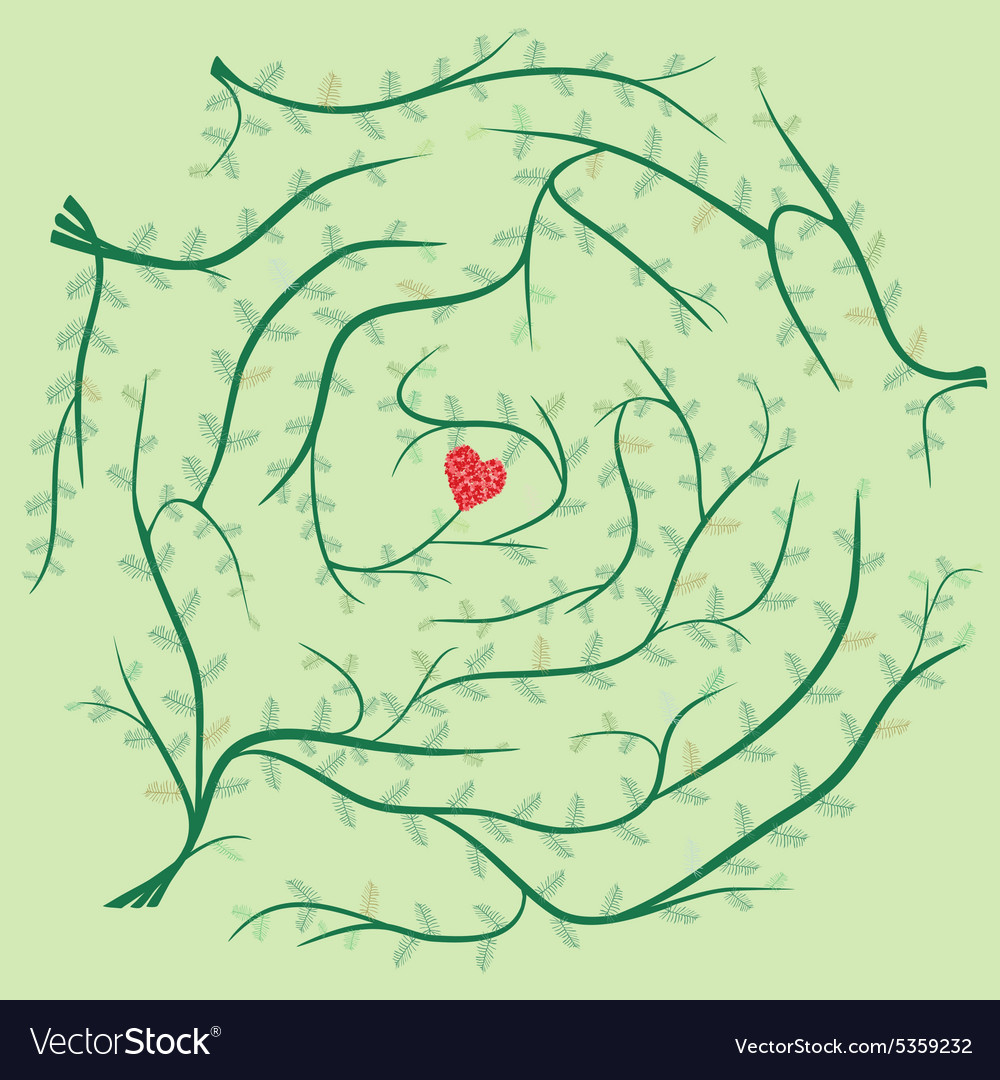 Finding Path Of Love Maze Puzzle Royalty Free Vector Image