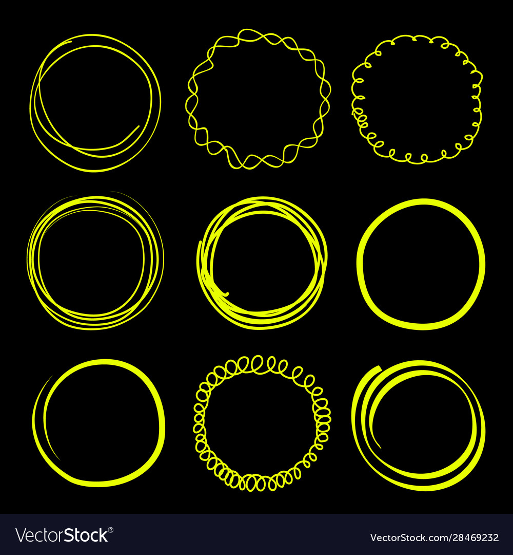 Hand drawn scribble circles frames neon elements