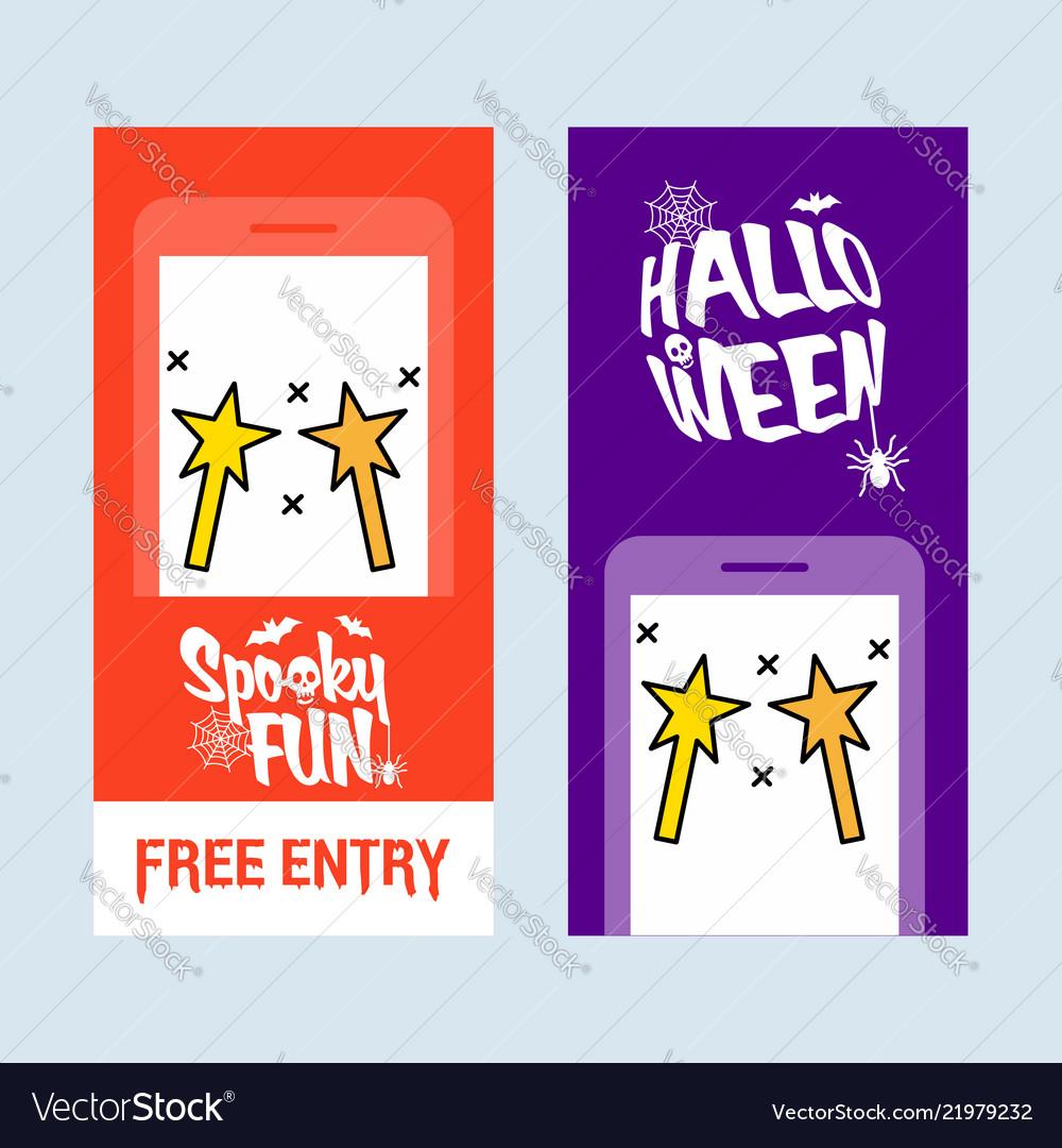Happy halloween invitation design with magic stick
