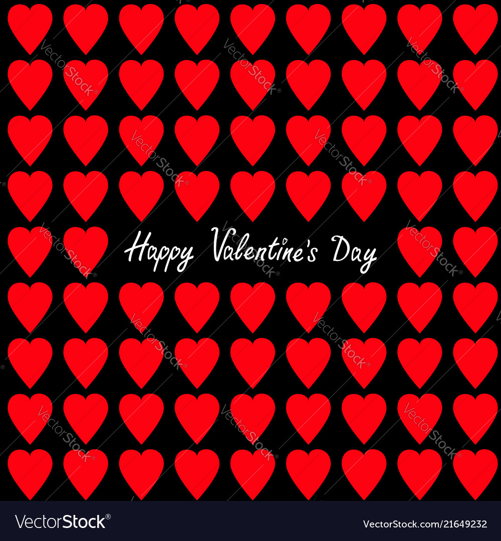 Happy valentines day greeting card red heart set