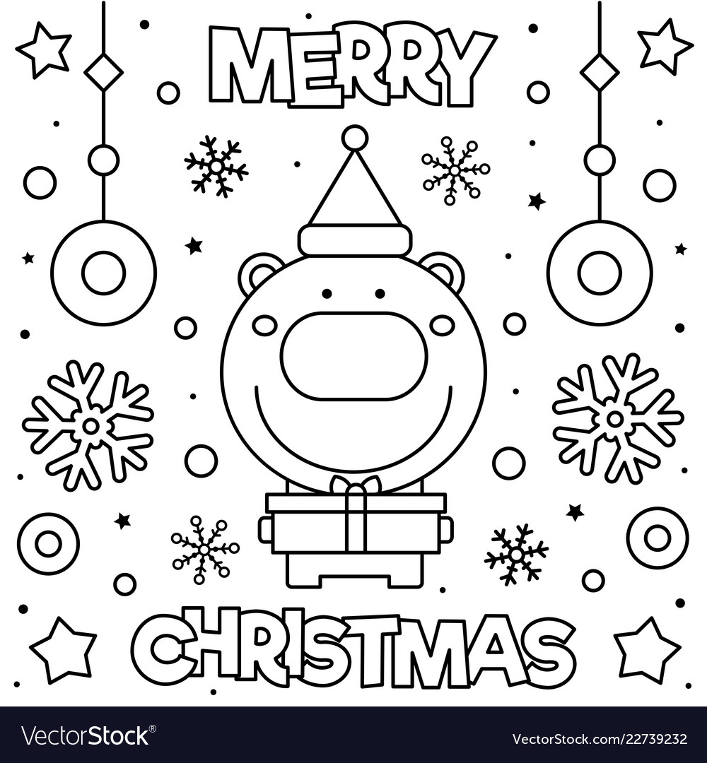 Merry Christmas Images Black And White.Merry Christmas Coloring Page Black And White