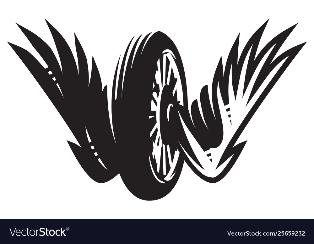 Monochrome pattern with wheel wings on a