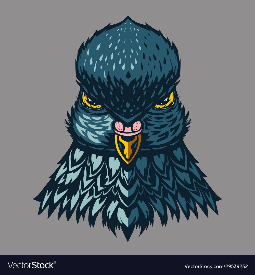 Pigeon vintage emblem dove head cartoon