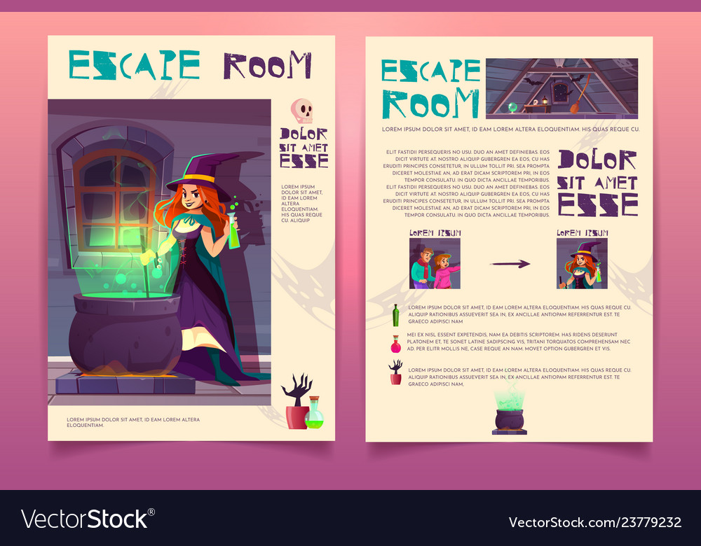 Quest game brochure witch house escape