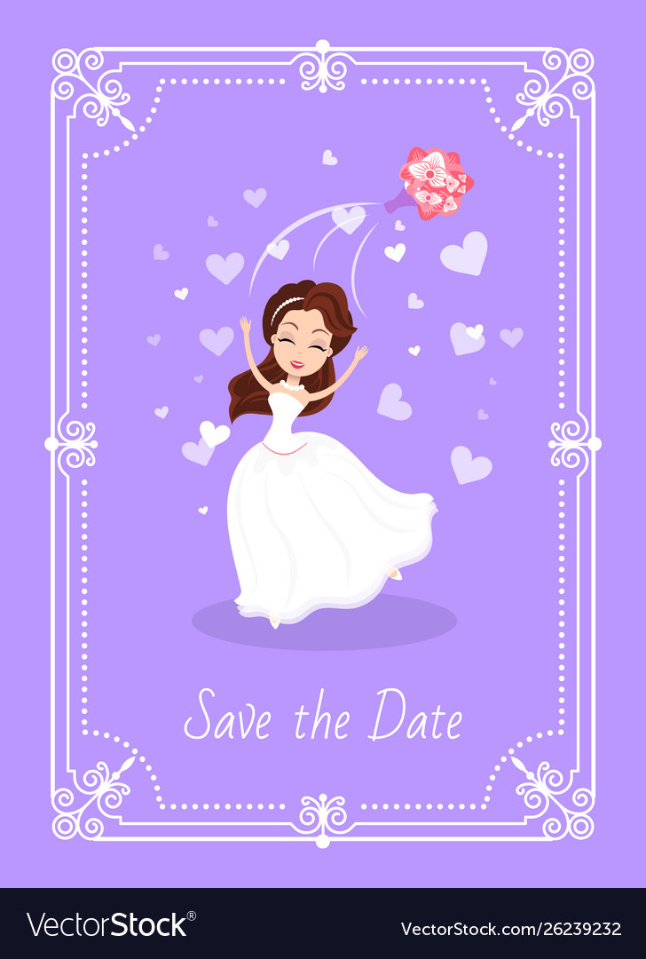 Save date greeting card bride in white dress