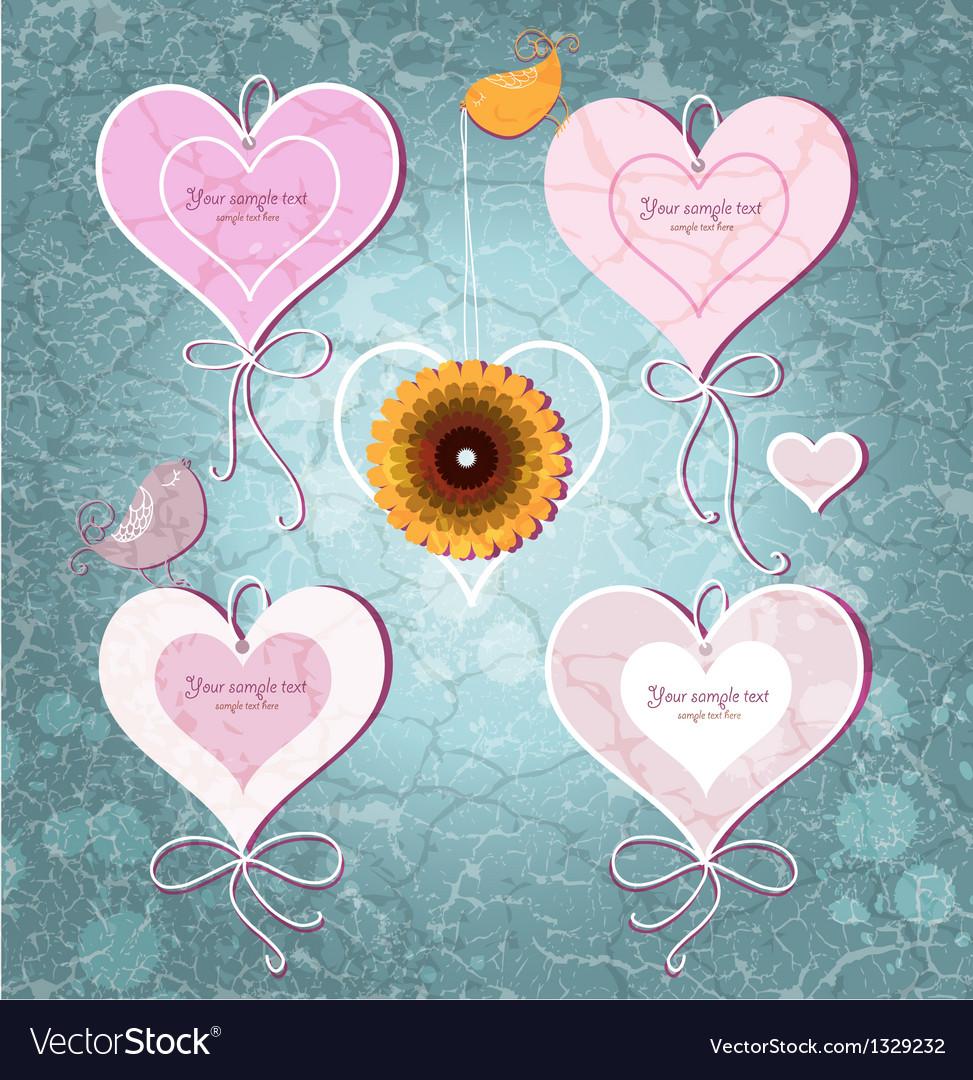 Set of vintage hearts on grunge background vector image