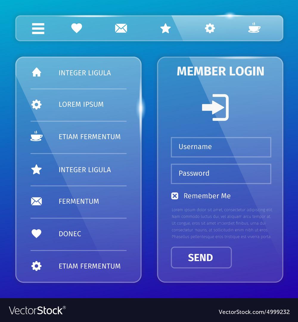 Transparent mobile user interface on blue