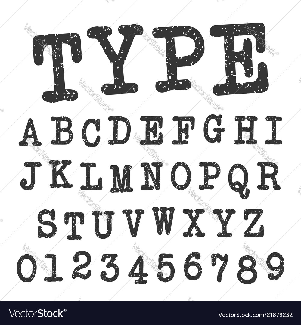 Type alphabet font template set of letters and