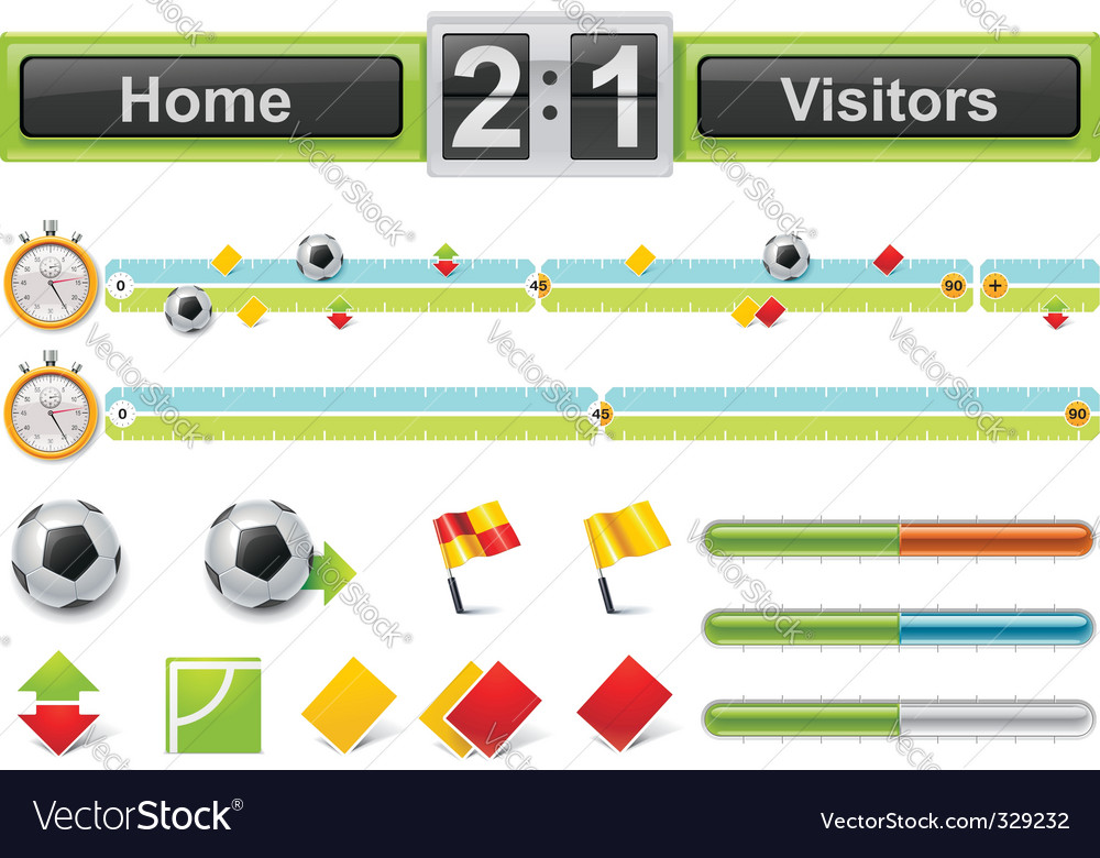 Vector soccer match timeline w vector image