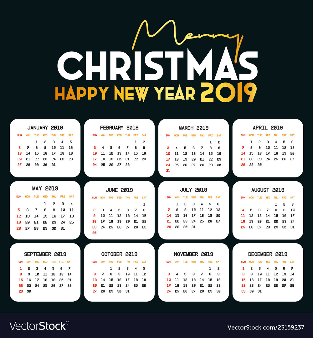 2019 calendar template christmas and happy new