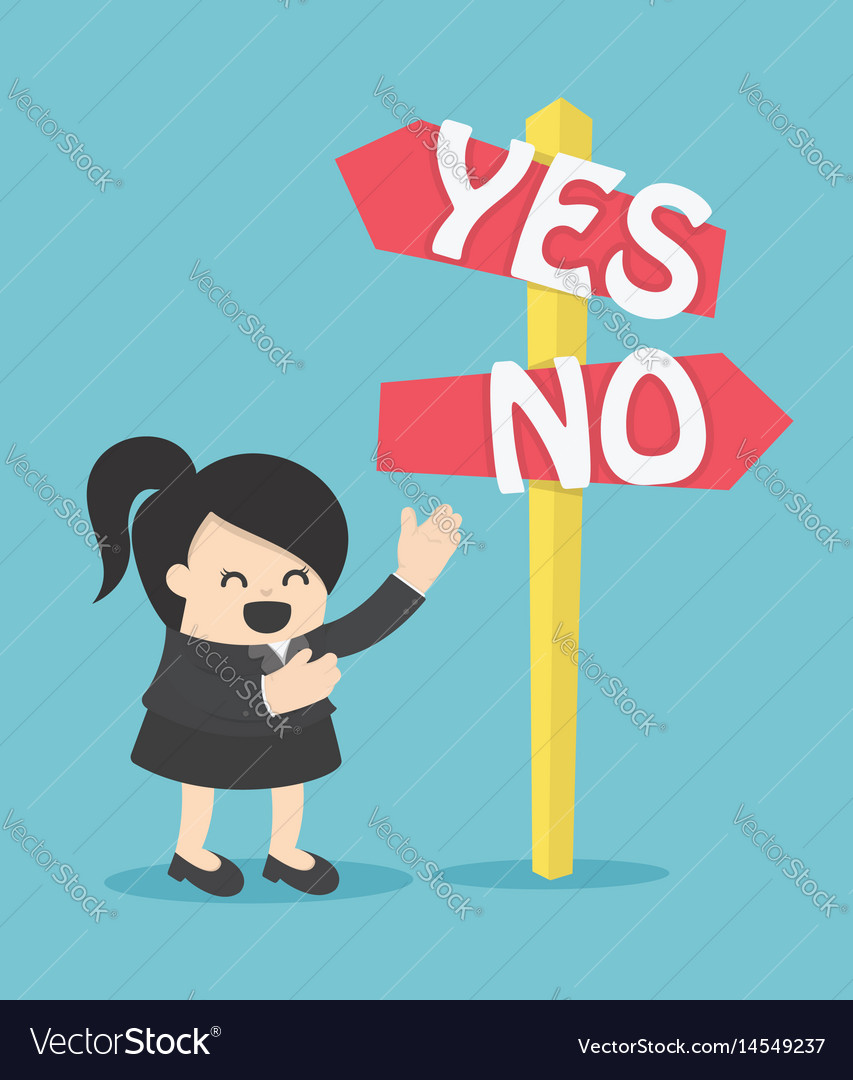Business woman yes on no vector image