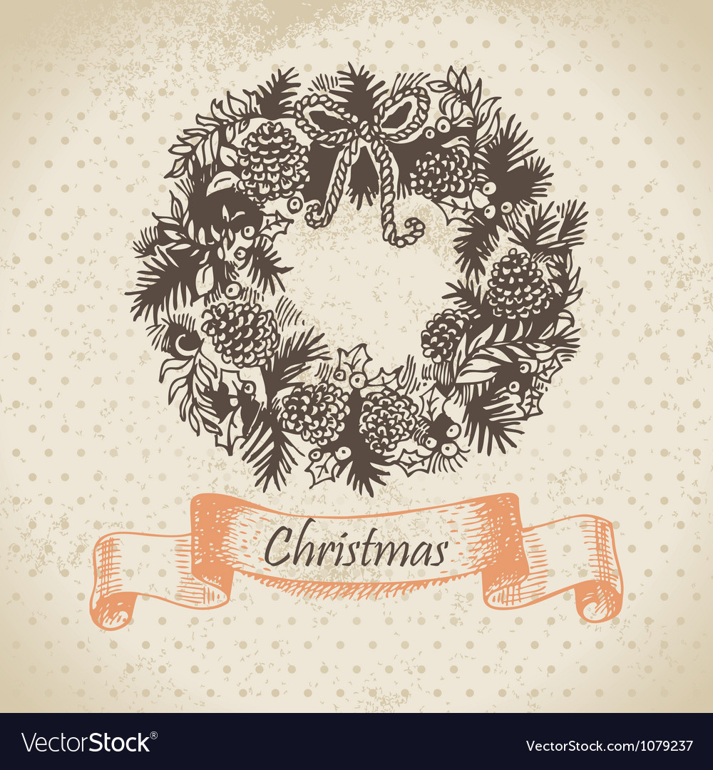 Christmas wreath hand drawn