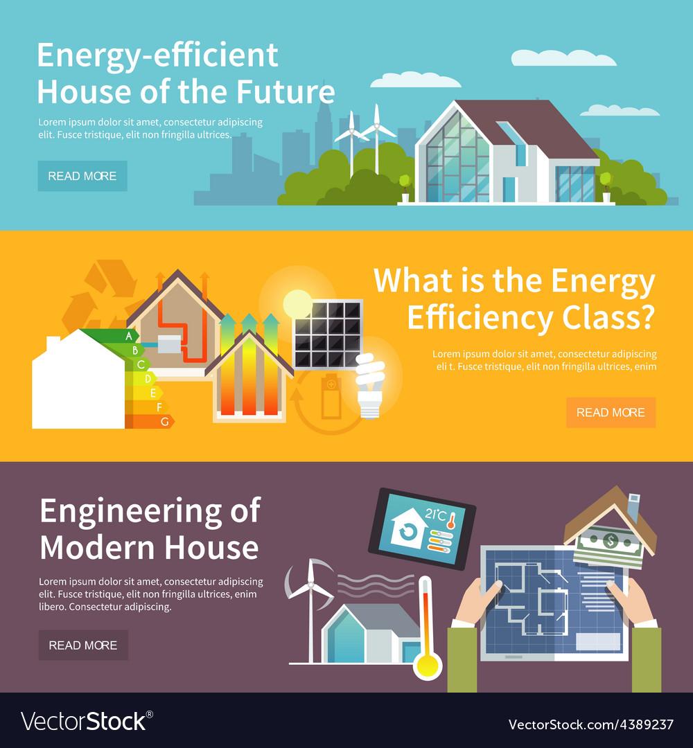 Energy Saving House Banner Vector Image