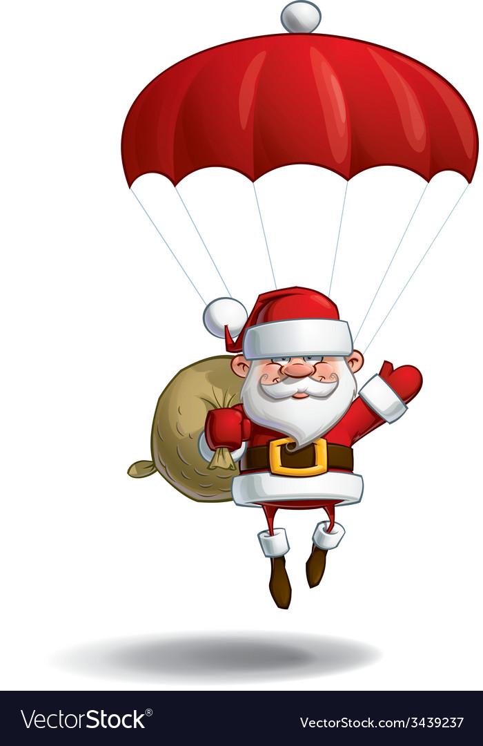 Happy Santa Parachute Sack of Gifts vector image